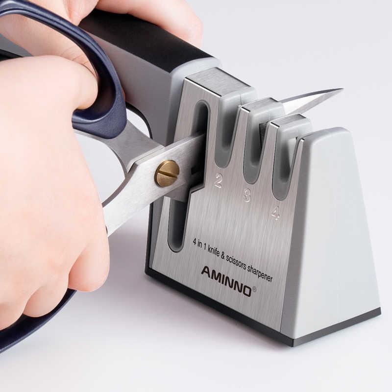 AMINNO Aiguiseur de couteaux 4 étages en céramique de diamant de tungstène, durée de vie plus longue, aiguiseur de ciseaux