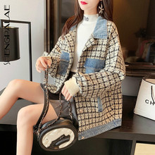 Knitted Cardigan Patchwork Sweater Coat Round-Neck Korean Autumn Large-Size Women's New