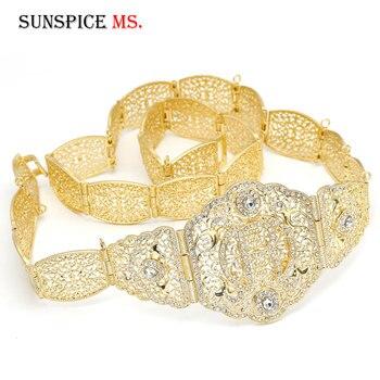 Sunspicems European Women Dress Belt R Wedding Jewlery Gold Color Rhinestone Metal Waist Chain Adjustable Length
