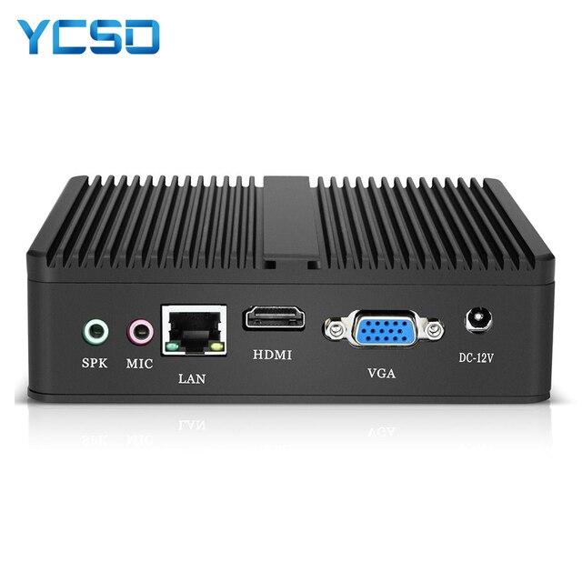 YCSD Fanless Mini PC Intel Celeron N2930 Windows 10 4GB RAM 120GB SSD 300Mbps WiFi Gigabit Ethernet HDMI VGA 5*USB HTPC