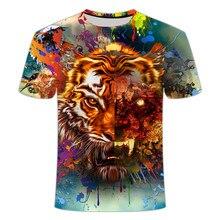 2021 novo animal masculino de manga curta 3dt camisa casual usar óculos leão/crânio impressão hip-hop asiático tamanho 110/6xl
