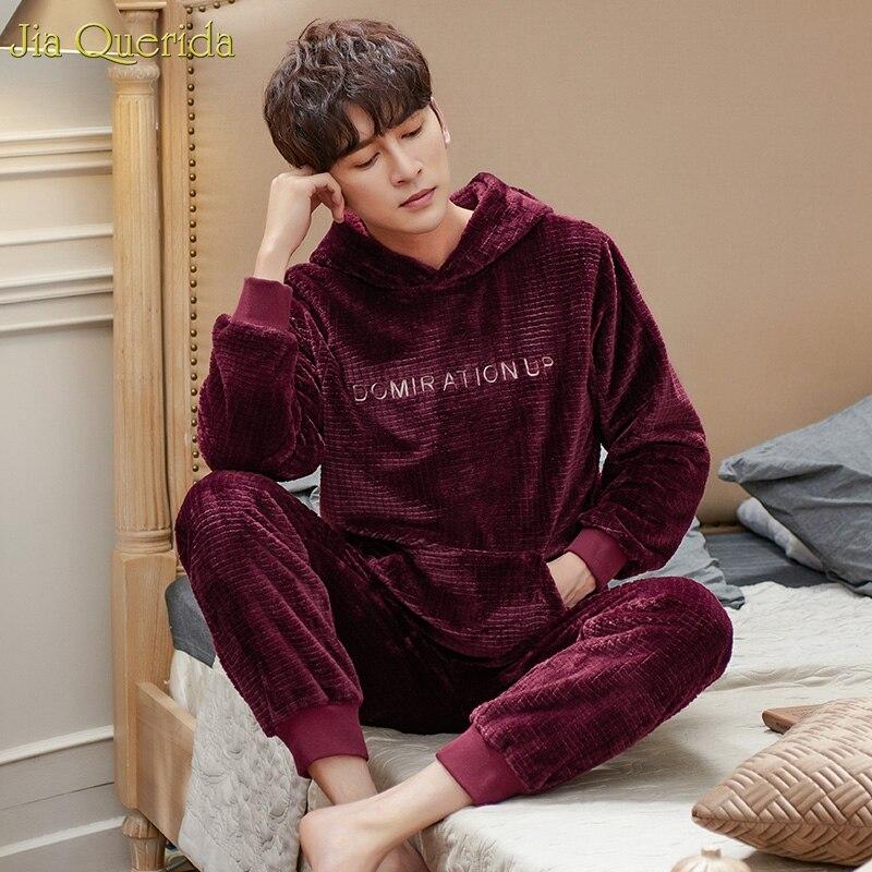 Hood Pajamas Men Sweatshirt Sports Style Flannel Pajamas Sleeping Suits For Men Letter Embroidery Winter Warm Pyjamas Men Suits