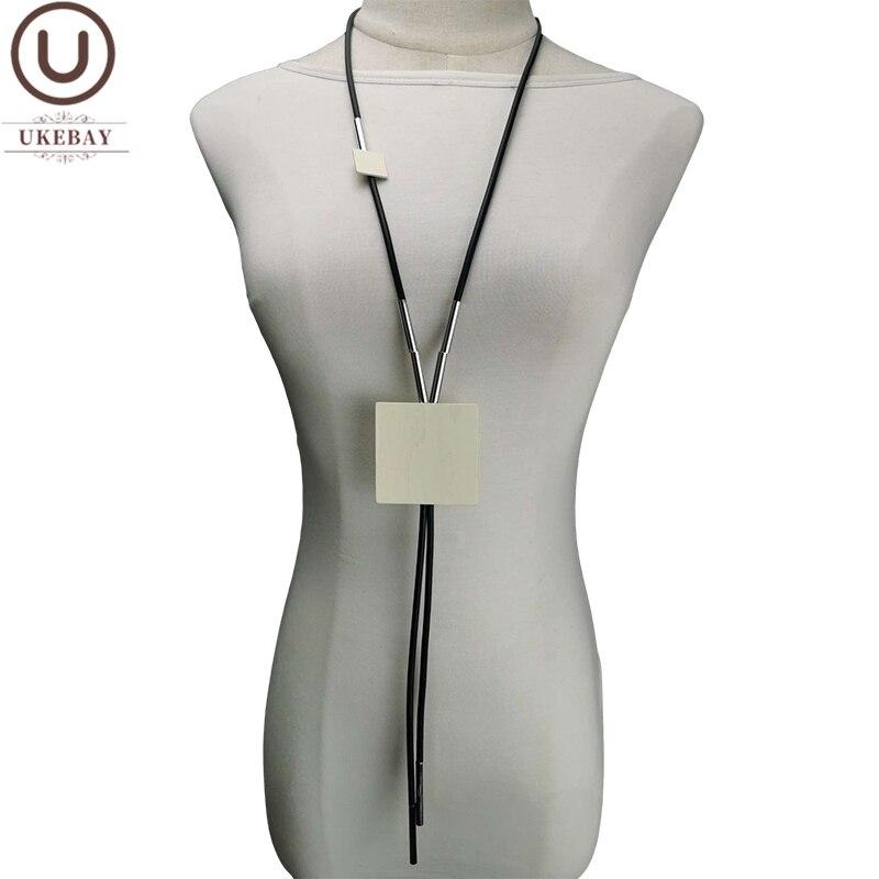Новые длинные эффектные ожерелья UKEBAY, женское ожерелье с кулоном, резиновые украшения ручной работы, цепочка для одежды, большие украшения, ...
