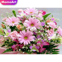 MomoArt Diamond Embroidery Cross Stitch Floral Painting With Diamonds Picture Of Rhinestones DIY Mosaic Flowers Handmade