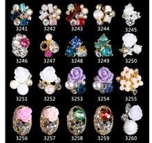10 pçs/saco em 3d arte do prego strass 3d decoração da arte do prego strass cristal gemas encantos jóias flor, kj788778