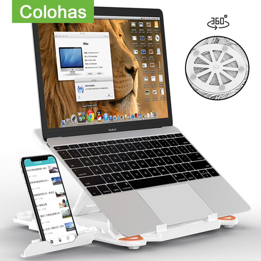 360 Rotating Laptop Stand Foldable Notebook Stand For Macbook Lenovo Laptop Holder Computer Cooling Bracket With Phone Holder(China)