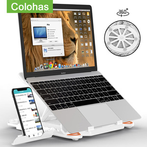 Image 1 - 360 Rotating Laptop Stand Foldable Notebook Stand For Macbook Lenovo Laptop Holder Computer Cooling Bracket With Phone Holder