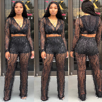black sexy see through long sleeve sequin two piece set two piece set top and pants women sets clothes chandal mujer