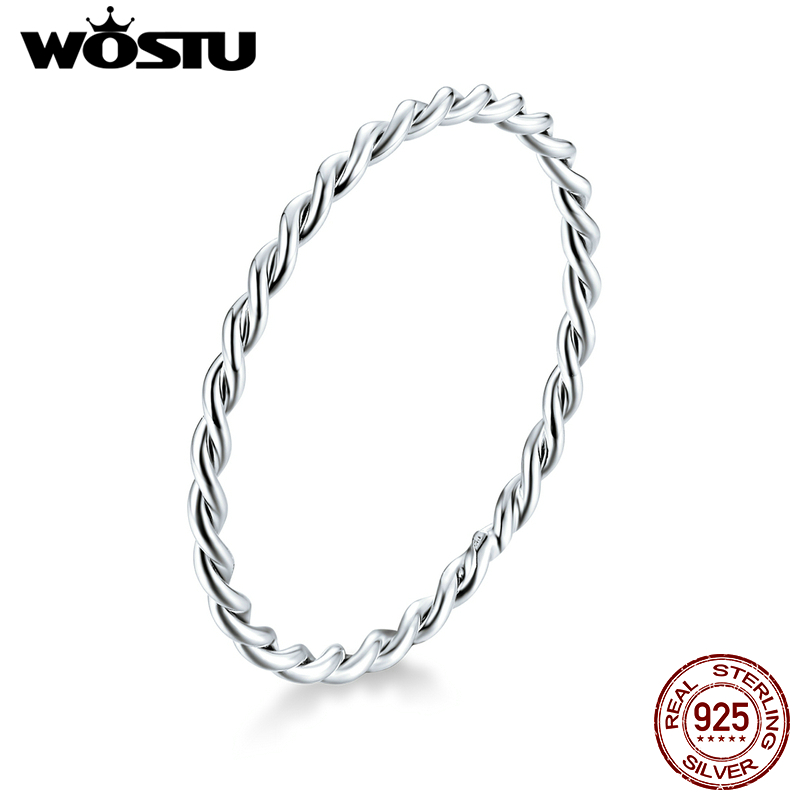 WOSTU Genuine 925 Sterling Silver Minimalist Twist Rings Finger Stackable Simple Ring Korean Style Party Jewelry Gift CQR640