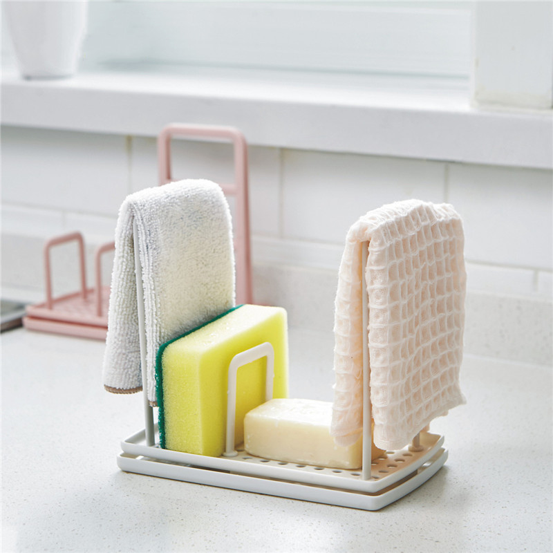 Kitchen Cloth Towel Rack New Sink Cleaning Rags Draining Stand Rag Soap Storage