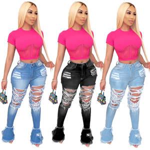 JRRY Boot Cut Capris-Pants Flare Jeans Bottom-Trousers Ruffle Casual Denim Women Pocket-Holes