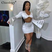 Chicology satin flare manches longues 2 deux pièces correspondant ensemble femmes haut court taille haute mini jupe 2019 automne hiver fête vêtements