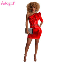 Adogirl Reflective Gilding Two Piece Set Dress 3/4 Puff Sleeve One Shoulder Crop Top Bodycon Mini Skirt Women Sexy Club Outfits adogirl reflective gilding two piece set dress 3 4 puff sleeve one shoulder crop top bodycon mini skirt women sexy club outfits