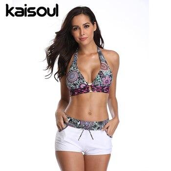 Bikinis Kaisoul nuevo con estampado Floral, traje de baño Sexy para mujer, 80% nailon + 12% Spandex, traje de baño de talla grande 5XL, ropa de playa de dos piezas