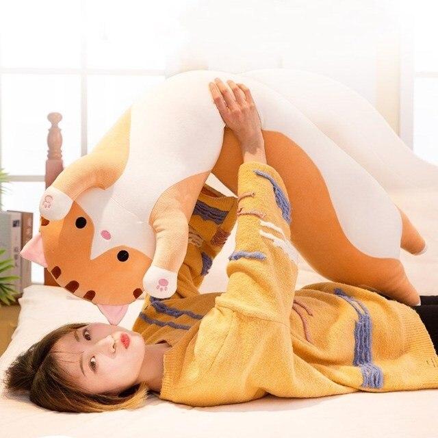 Gato longo travesseiro macio pelúcia boneca brinquedo presente de aniversário presente de natal presente da menina presente de natal