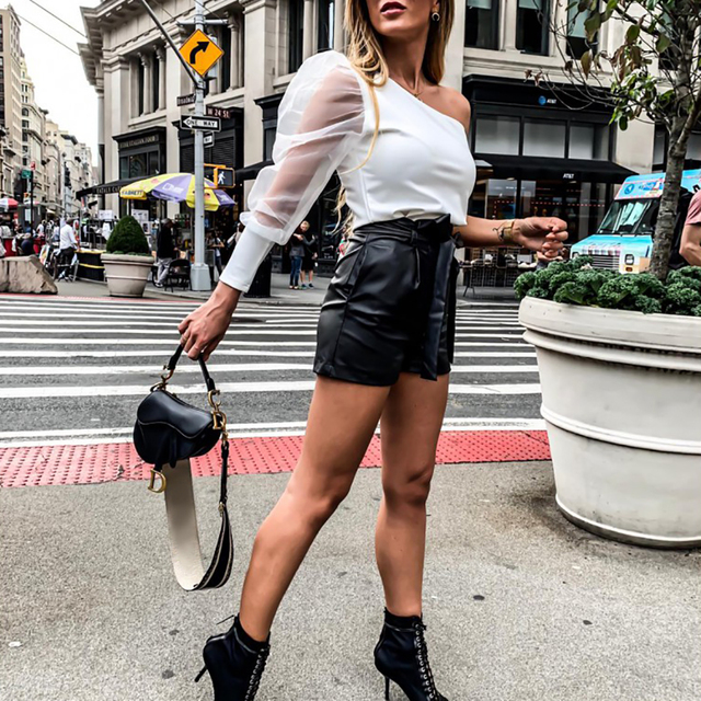 PU Leather High Waist Shorts Women Black Shorts With Belt Bow Casual Sexy Short Fashion Streetwear Ladies Autumn Winter D30 4