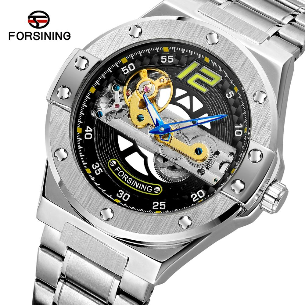 Forsining Automatic Male Watch Golden Bridge Transparent Stainless Steel Band Racing Man Mechanical Wristwatch Relogio Masculino|Mechanical Watches| |  - title=