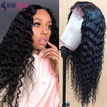 WowQueen – perruque Lace Front Wig brésilienne naturelle, Deep Wave, 5x5, 30 pouces