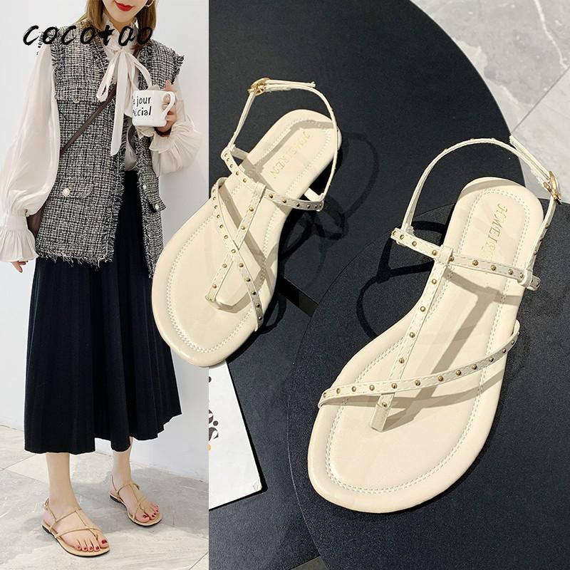 Women's Fashion Sandals Fairy Style Student Casual Simple Female One-line Buckle 2020 Spring And Summer Shoes With Skirt