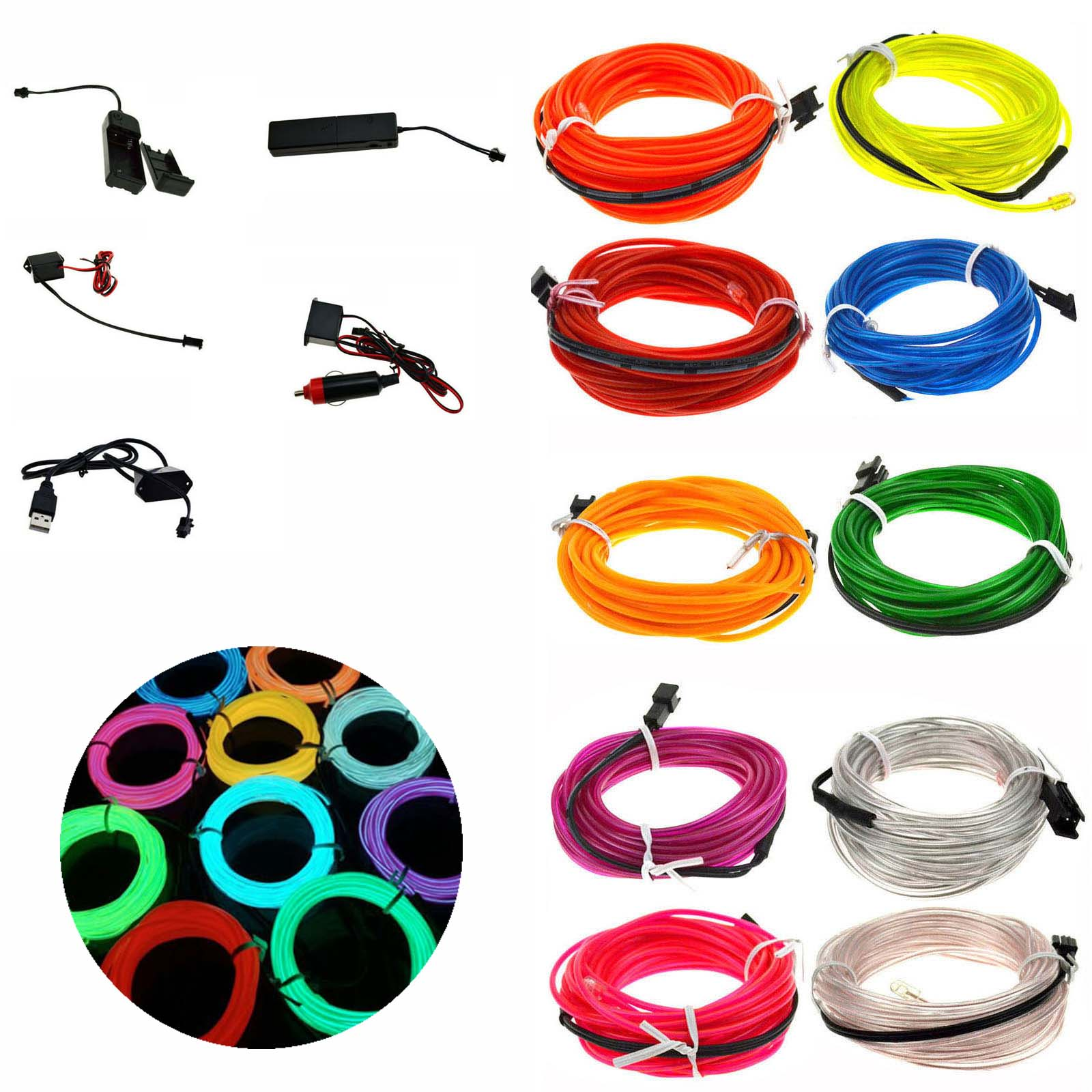1M 3.28ft Flexible Neon Light Glow LED EL Wire Rope tape Cable Strip LED Neon Lights Shoes Clothing Car waterproof + Drive