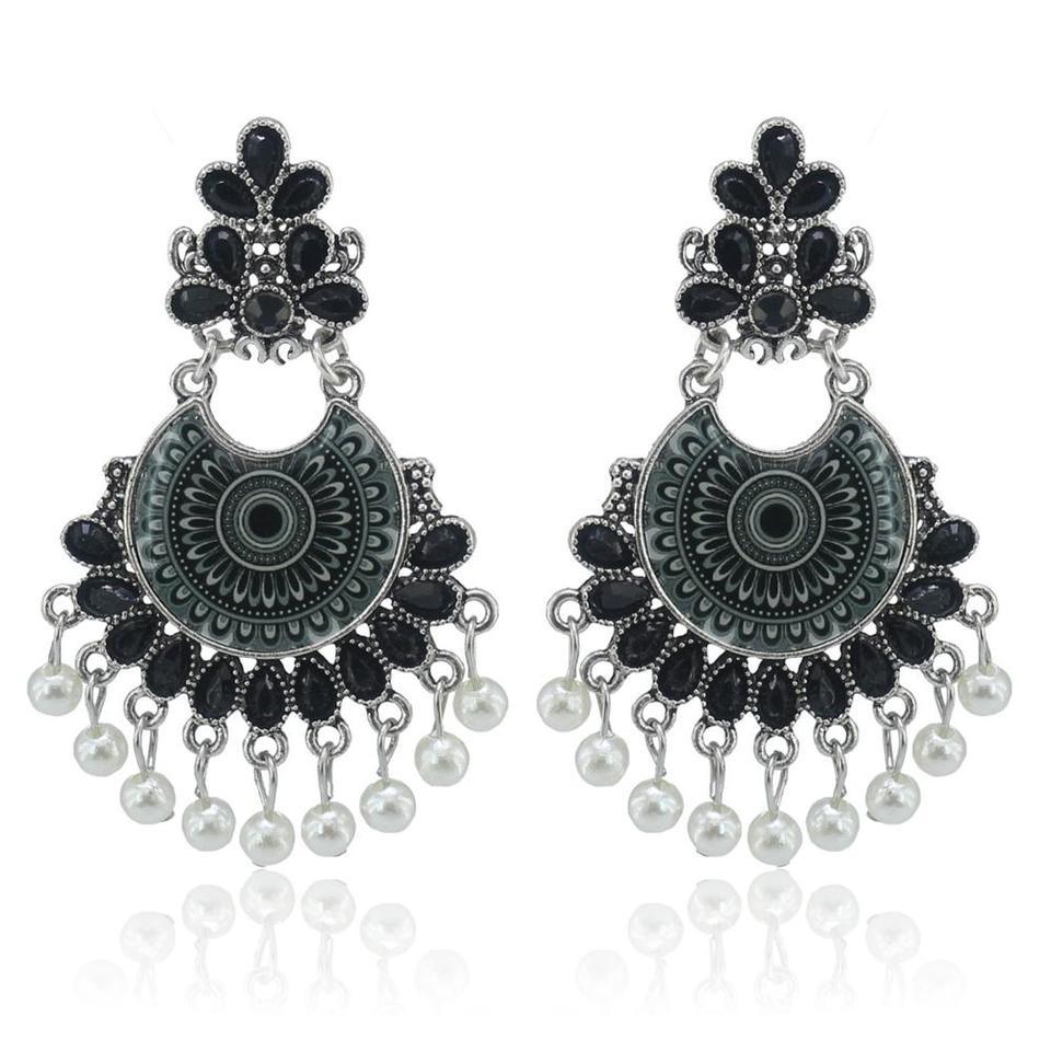 Indian Fashion Women Sector Gold Jhumka Earrings Indian Jewelry Ethnic Hippie Tribe Boho Bells Tassel Dangle Earrings Bijoux