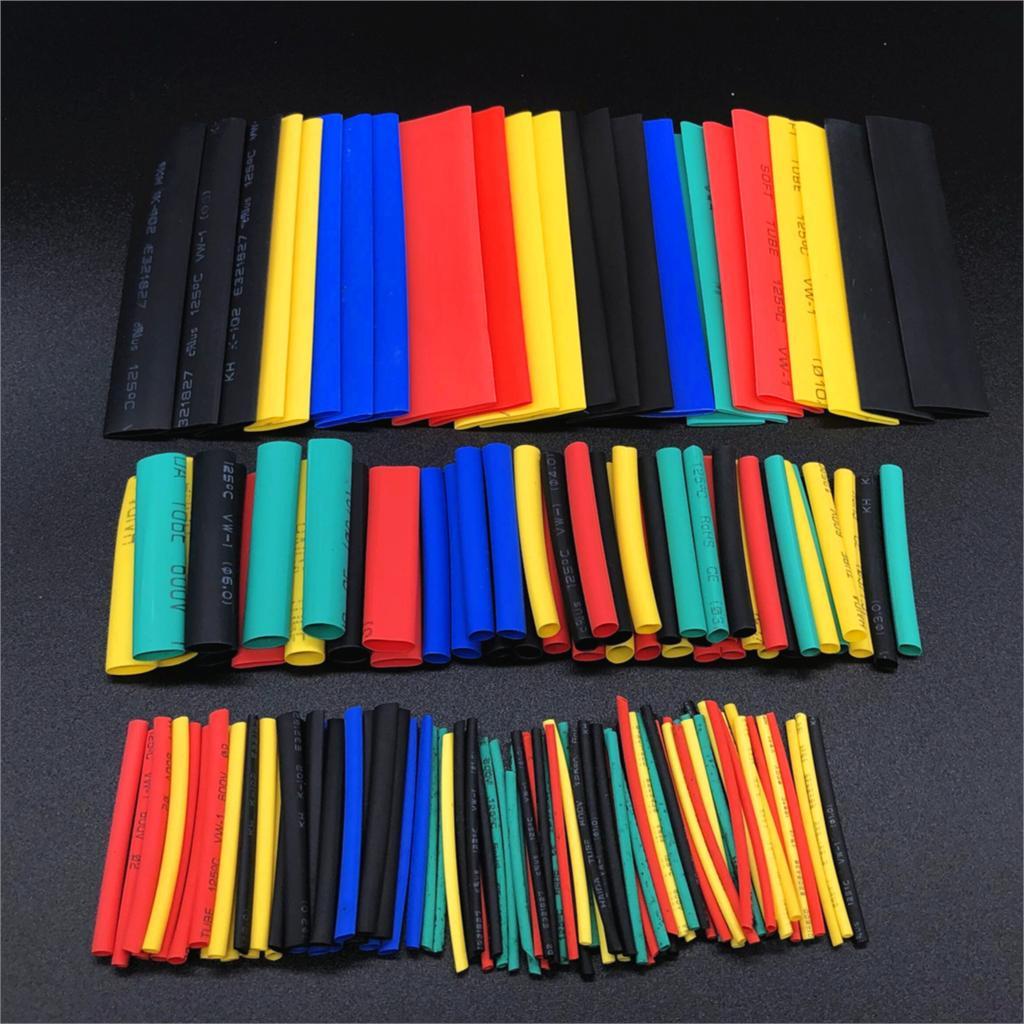 Tubo termo retrátil poliolefina, conjunto de 164 peças de cabo de fio encolhível, tubo de calor, peças eletrônicas