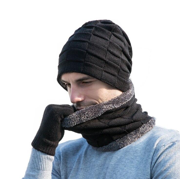 LOOZYKIT Winter Beanie Hat For Men Women Hat Scarf Warm Scarf Hat Gloves Set Male Female Hat Scarf Set 3 Pcs Skullies Beanies