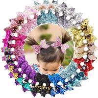 30Pcs Glitter Hair Bows Clips 4 Inch Bunt Sequins Hairclips Alligator Clips Boutique Hair Accessories For Baby Girls Teens Kids