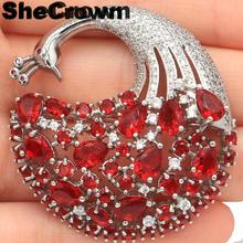 43x42mm Long Big Heavy Created Peacock Shape Red Blood Ruby Tourmaline CZ Gift Silver Brooch