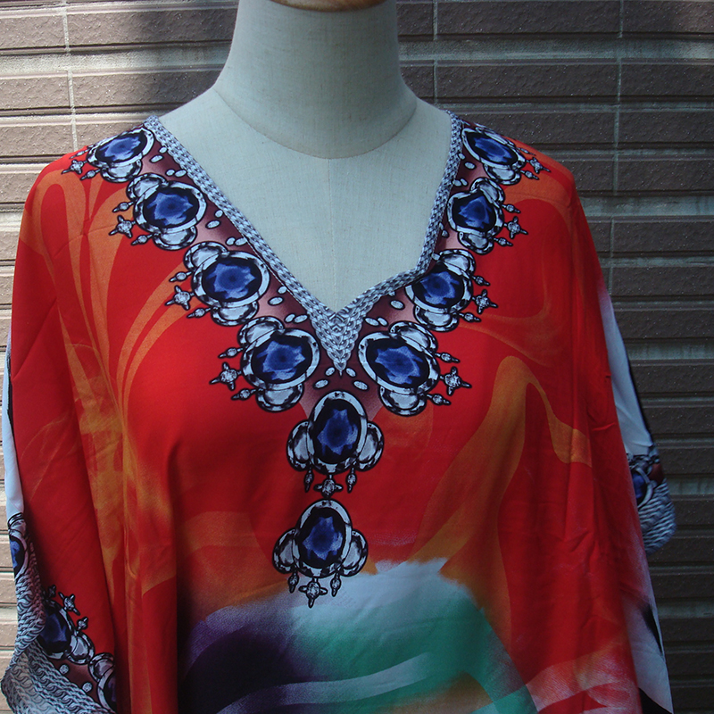 Plus size Bohemian Maxi Dress Print Cotton Beach tunic 2020 Robe de Plage Sarong V neck Loose Batwing Sleeve Summer Women Dress 3
