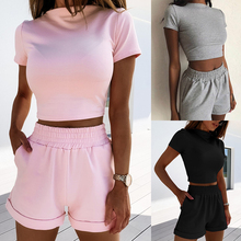 Sexy 2 Piece Set Summer Women Short Sleeve Solid Skinny Crop Top