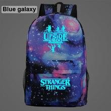 Luminoso estranho coisas bicicleta demogorgon galaxy lightning crianças saco de escola adolescentes estudante schoolbags mochila dos homens das mulheres