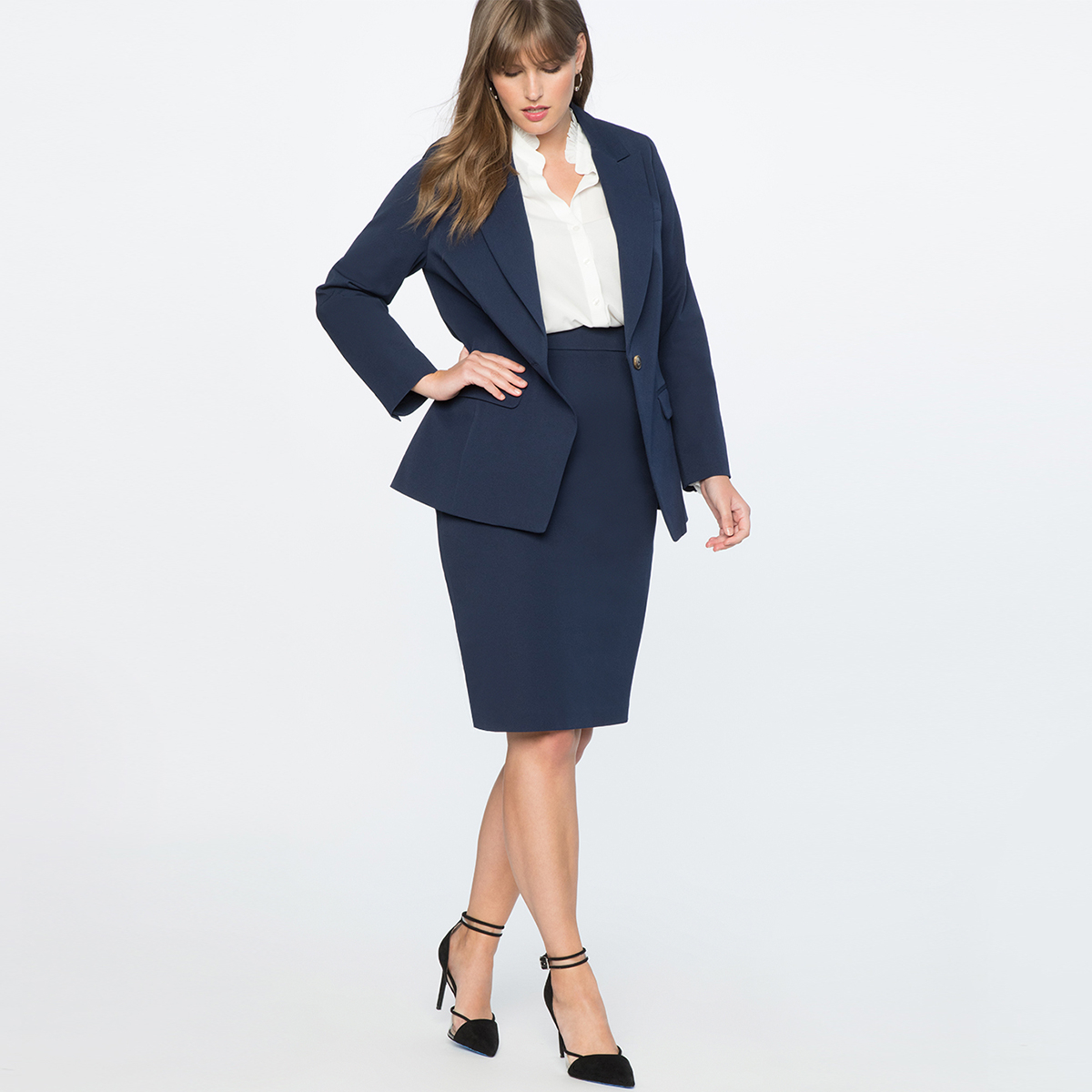 Kissmilk Plus Size Women  Office Lady Solid Straight Knee-Length