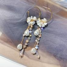Long asymmetrical earrings in Europe and the United States pearl tassel zircon earrings, personality, temperament, ear ornaments