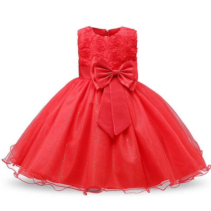 New Year Girl Red Christmas Dress Baby Children Princess Party Costume Kids Dresses For Girls Clothes Santa Outfits 2 3 4 5 6T 1