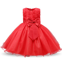 New Year Girl Red Christmas Dress Baby Children Princess Party Costume Kids Dresses For