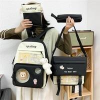 4-stück Set Mode frauen Rucksack Nylon Große Kapazität Wasserdicht Schule Taschen Für Teenager Mädchen Reise Rucksäcke