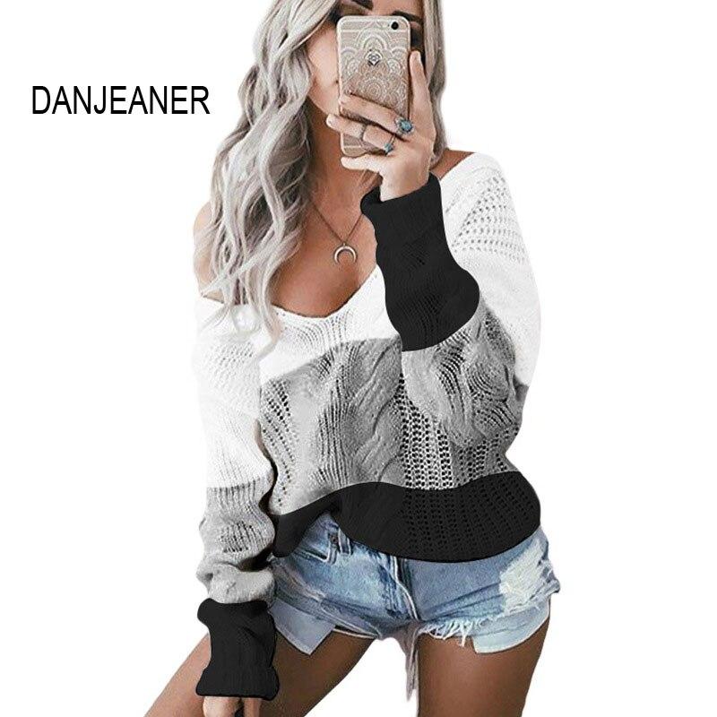 DANJEANER Casual Knitted Sweater Women Streetwear V Neck Long Sleeve Pullovers Loose Warm Coat 2019 Autumn Winter Women Sweater
