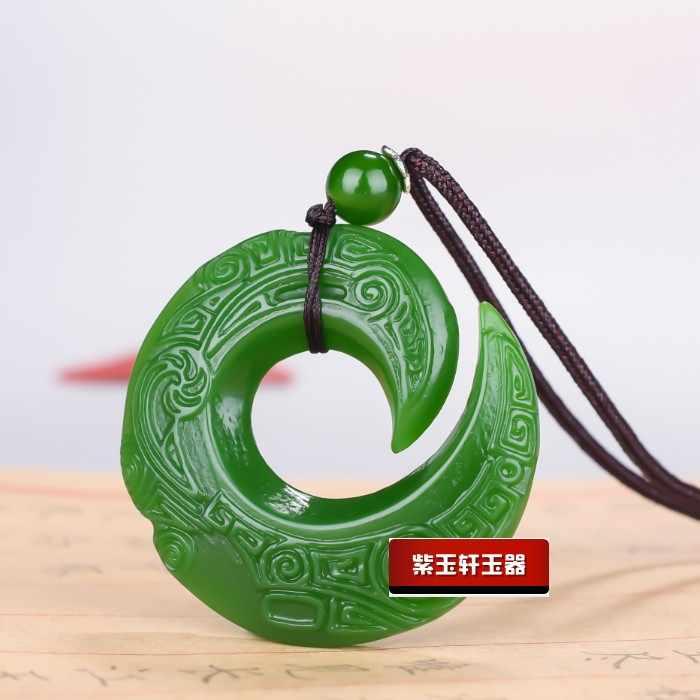 אופנה ירוק ירקן דרקון ירקן תליון שרשרת תכשיטי סיני יד-מגולף להירגע ריפוי נשים גבר מזל מתנת משלוח חבל