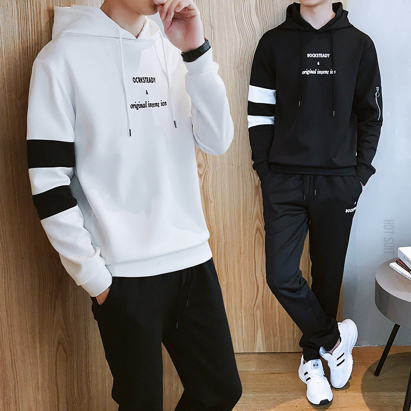 Hong Kong Style Men 19 Autumn Clothing New Style Hoodie Pants Set Men Korean-style Trend Casual Sports Two-Piece Set