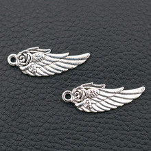 Wings Amulet Pendant, Angel Charms,  Rose DIY Handmade Jewelry Tibetan Silver Tone A2022 10pcs