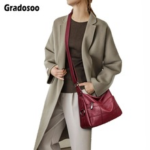 Gradosoo Vintage Women Shoulder Bag Brand Crossbody Bags For Women Fashion Messenger Bag Female New Arrival Big Bag Women HMB655