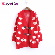 Print Heart Cardigan Women Sweater 2019 Korean Horn Button V-neck Winter Loose Sweet Knitted Top