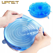 6pcs Silicone Stretch Food Lids Reusable Universal Silicone Food Wrap Bowl Pot Airtight Lid Kitchen Accessories silicone food wrap bowl pot cover stretch lid kitchen vacuum sealer