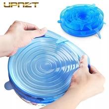 6pcs Silicone Stretch Food Lids Reusable Universal Wrap Bowl Pot Airtight Lid Kitchen Accessories