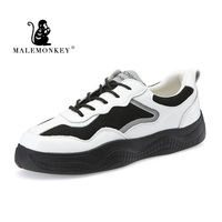 MALEMONKEY 2020 Fashion Women Vulcanized Shoes Sneakers Ladies Lace up Casual Shoes Breathable Leather Shoes Platform Sneakers
