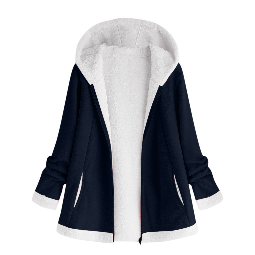 H3a77c6dc73544c0483a3b591b426b2e5m women's autumn jacket Winter warm solid Plush Hoodie Coat Fashion Pocket Zipper Long Sleeves outwear manteau femme plus size 5XL