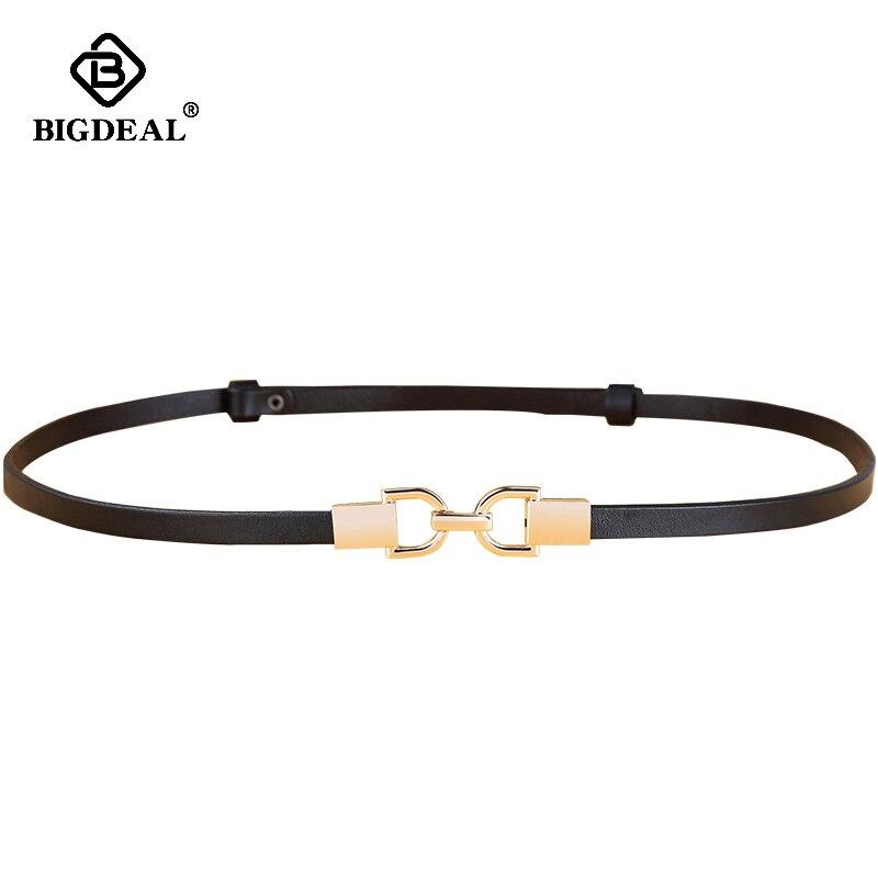 Fashion Genuine Leather Elastic Thin Belt For Women Stretch Waist Belt For Dress Adjustable Female Belts Accessories