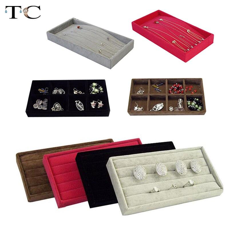 Necklace Display Bracelet Storage Tray Ring Earring OrganizerJewelry Holder Stackable Velvet Jewelry Tray