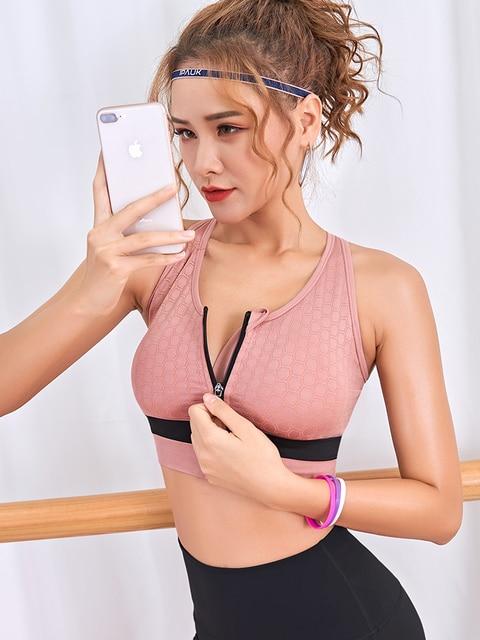 women Sports Bra high impact zipper front fitness Gym Running Adjustable Tops plus size push up